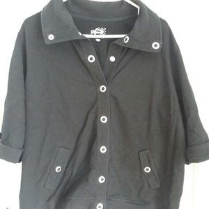 Style & Co Woman Sport Terry Jacket Black 2X